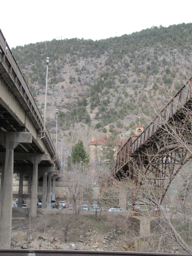 Grand Avenue Bridge (left) and Pedestrian Bridge (right)  mid April 2013
